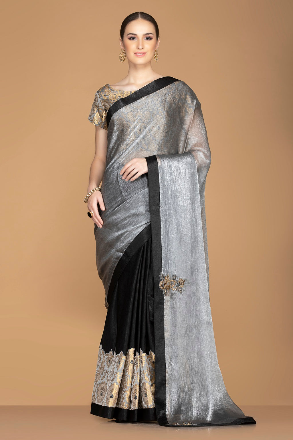 Buy elegant black and grey embroidered crepe saree online in USA with grey saree blouse. Keep your ethnic fashion on point with exquisite designer sarees, partywear sarees, embroidered sarees from Pure Elegance Indian fashion boutique in USA.-full view