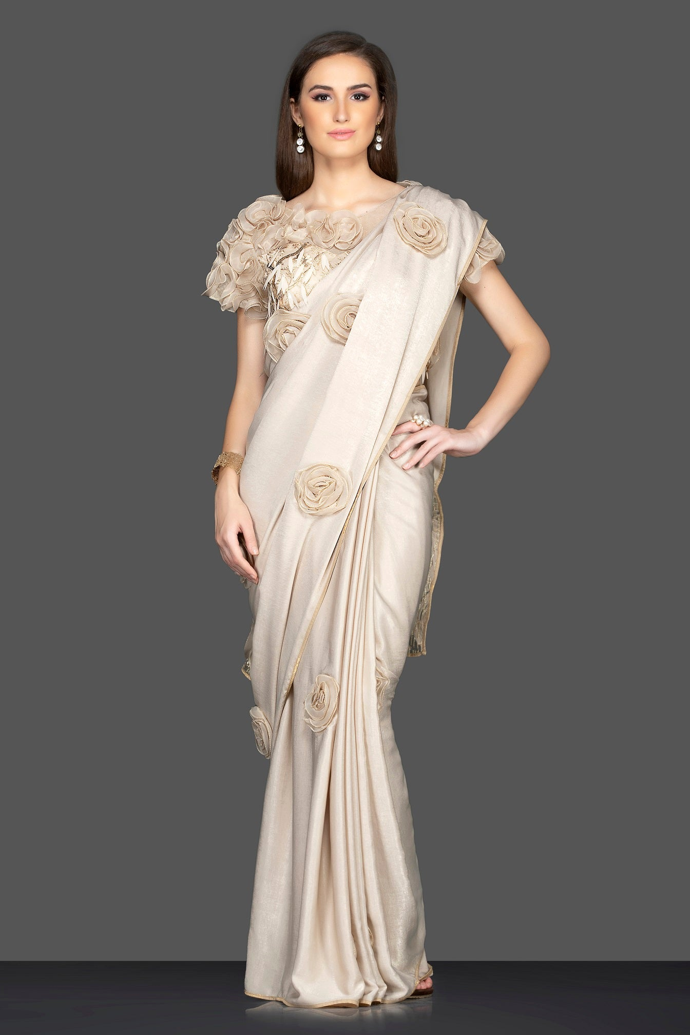 Shop stunning cream embroidered sari online in USA with designer saree blouse. Elevate your sartorial choice with exclusive Indian designer saris with blouse, embroidered sarees, pure silk sarees from Pure Elegance Indian fashion store in USA.-full view