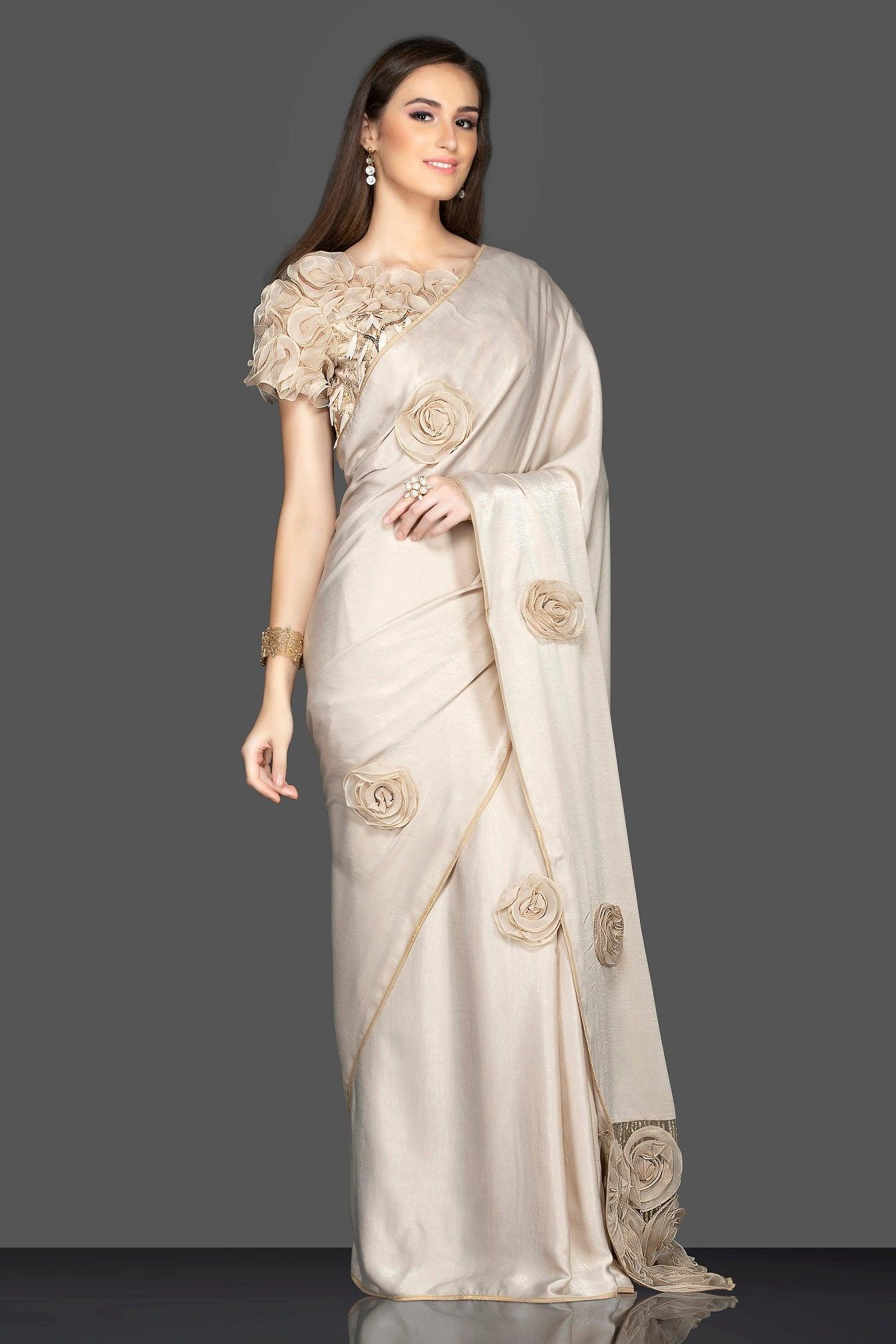 Shop stunning cream embroidered sari online in USA with designer saree blouse. Elevate your sartorial choice with exclusive Indian designer saris with blouse, embroidered sarees, pure silk sarees from Pure Elegance Indian fashion store in USA.-side