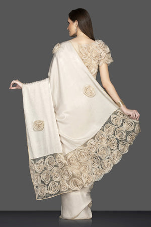 Shop stunning cream embroidered sari online in USA with designer saree blouse. Elevate your sartorial choice with exclusive Indian designer saris with blouse, embroidered sarees, pure silk sarees from Pure Elegance Indian fashion store in USA.-back