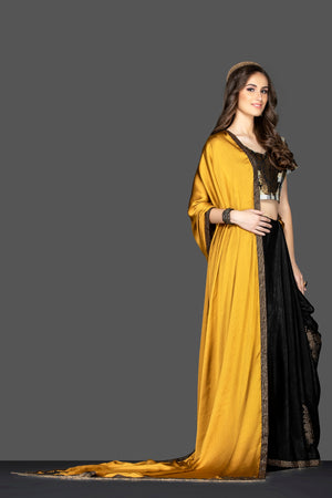 Shop beautiful mustard and black embroidered sari online in USA with designer sari blouse. Elevate your sartorial choice with exclusive Indian designer saris with blouse, embroidered sarees, pure silk sarees from Pure Elegance Indian fashion store in USA.-side