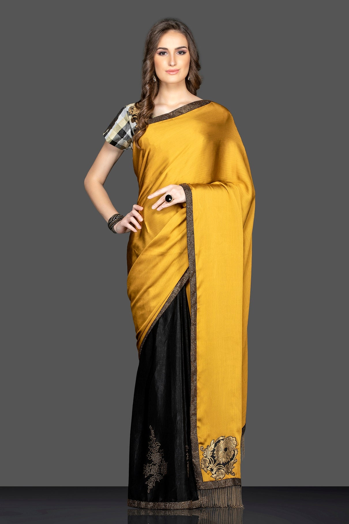 Shop beautiful mustard and black embroidered sari online in USA with designer sari blouse. Elevate your sartorial choice with exclusive Indian designer saris with blouse, embroidered sarees, pure silk sarees from Pure Elegance Indian fashion store in USA.-front