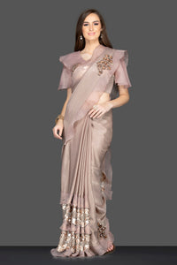 Shop gorgeous brown embroidered designer saree online in USA with saree blouse. Keep your ethnic fashion on point with exquisite designer sarees, partywear sarees, embroidered sarees from Pure Elegance Indian fashion boutique in USA.-full view