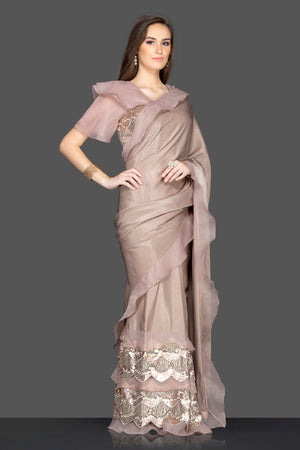 Shop gorgeous brown embroidered designer saree online in USA with saree blouse. Keep your ethnic fashion on point with exquisite designer sarees, partywear sarees, embroidered sarees from Pure Elegance Indian fashion boutique in USA.-side