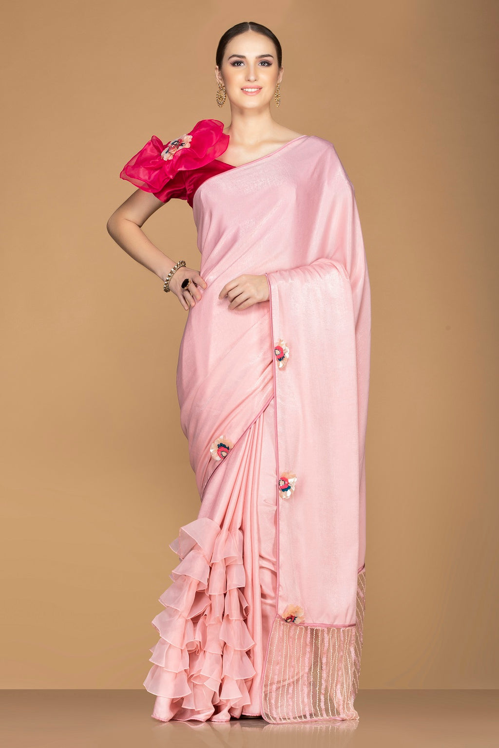 Shop stunning light pink tiered ruffle saree online in USA with red saree blouse. Keep your ethnic fashion on point with exquisite designer sarees, partywear sarees, embroidered sarees from Pure Elegance Indian fashion boutique in USA.-full view