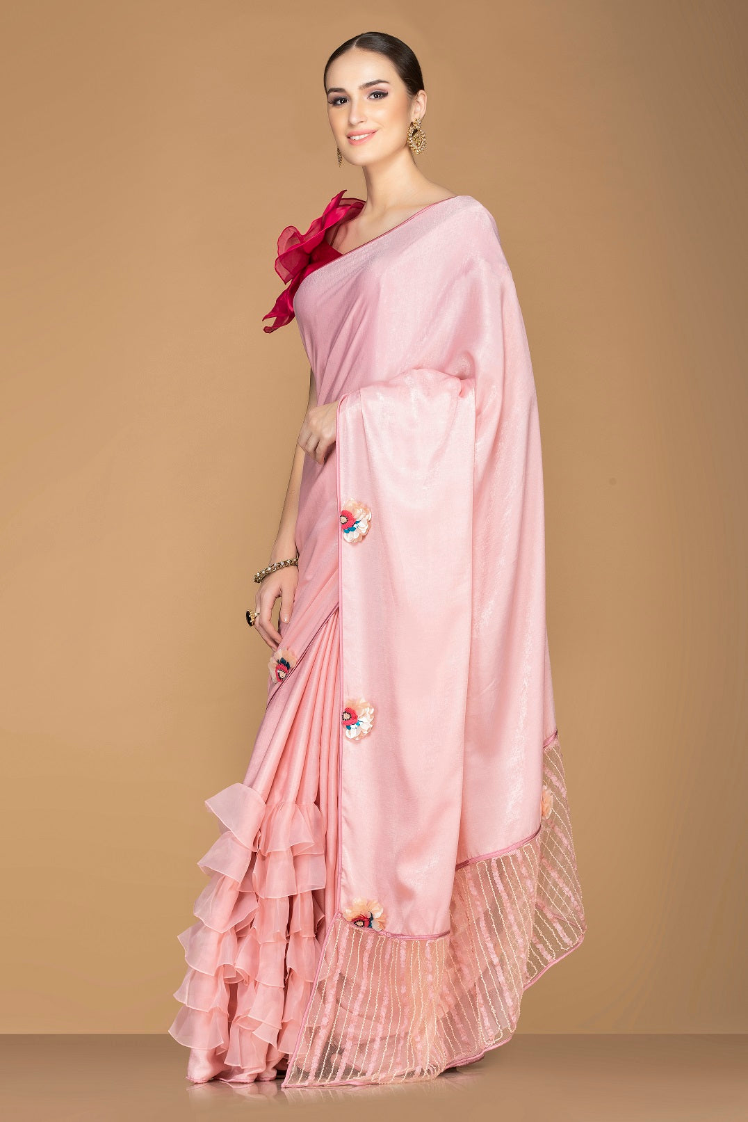 Shop stunning light pink tiered ruffle saree online in USA with red saree blouse. Keep your ethnic fashion on point with exquisite designer sarees, partywear sarees, embroidered sarees from Pure Elegance Indian fashion boutique in USA.-side