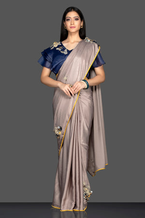 Buy stunning grey embroidered designer sari online in USA and embroidered blue saree blouse. Elevate your sartorial choice with exclusive Indian designer sarees with blouse, embroidered sarees, party sarees from Pure Elegance Indian fashion store in USA.-full view