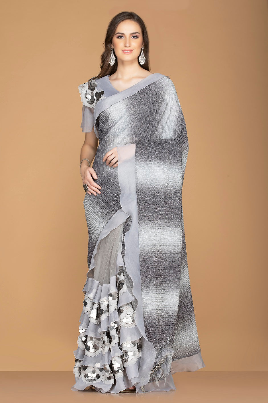 Buy stylish grey and black designer saree online in USA with ruffle border and embroidered saree blouse. Elevate your sartorial choice with exclusive Indian designer sarees with blouse, embroidered sarees, party sarees from Pure Elegance Indian fashion store in USA.-full view