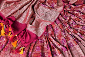 Shop beautiful magenta zari check georgette Banarasi saree online in USA. Go for an extraordinary traditional look with splendid handwoven sarees, embroidered sarees with blouses, Banarasi saris from Pure Elegance from Indian cloth store in USA.  Shop online or visit our store now.-details