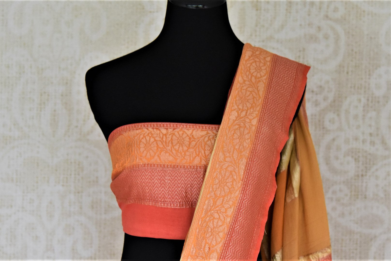 Buy lovely orange and pink zari check georgette Banarasi sari online in USA. Go for an extraordinary traditional look with splendid handwoven sarees, embroidered sarees with blouses, Banarasi saris from Pure Elegance from Indian cloth store in USA.  Shop online or visit our store now.-blouse pallu