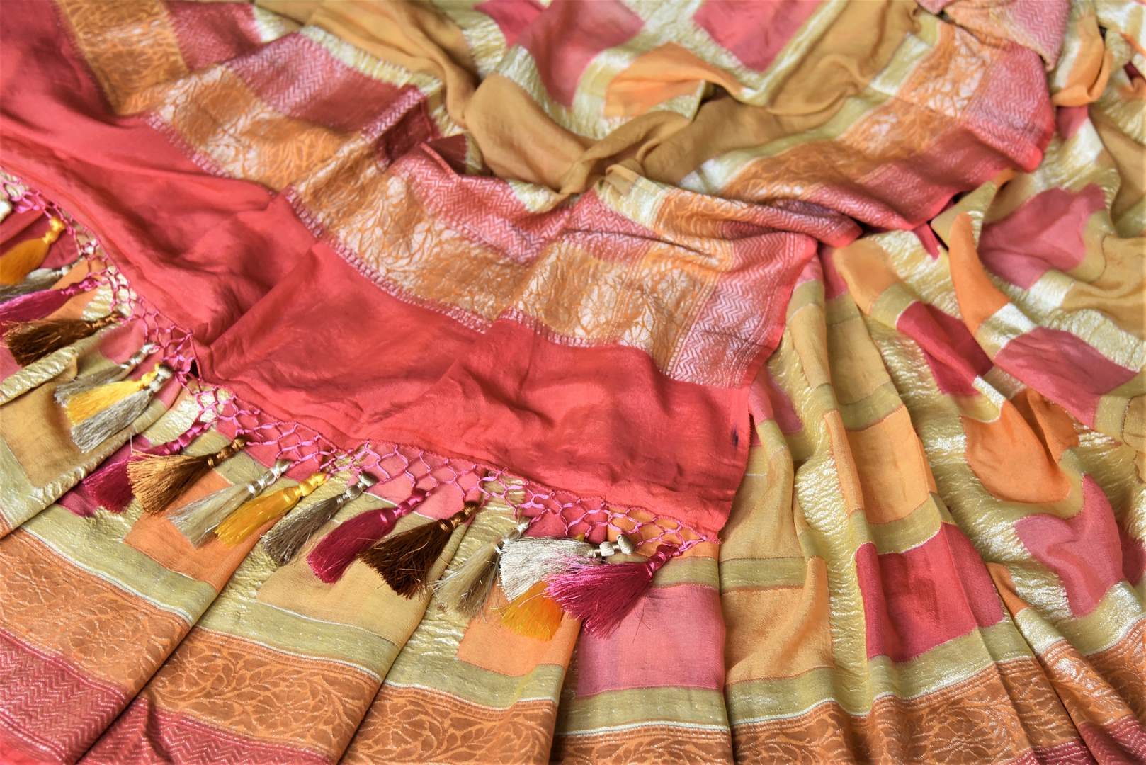 Buy lovely orange and pink zari check georgette Banarasi sari online in USA. Go for an extraordinary traditional look with splendid handwoven sarees, embroidered sarees with blouses, Banarasi saris from Pure Elegance from Indian cloth store in USA.  Shop online or visit our store now.-details