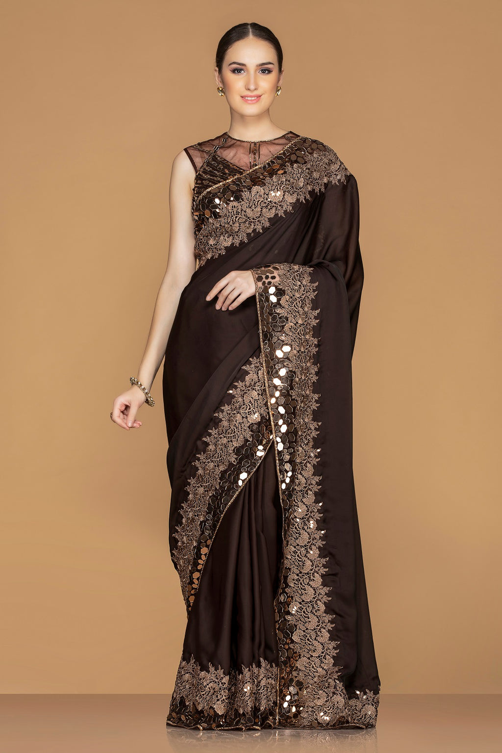 Buy gorgeous dark brown embroidered saree online in USA with embroidered designer saree blouse. Champion ethnic fashion with a splendid collection of designer sarees, embroidered sarees with blouse, weddings sarees from Pure Elegance Indian fashion store in USA.-full view