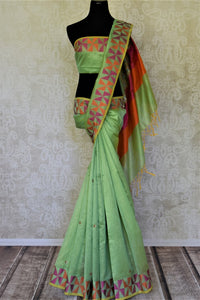 Stunning light green embroidered handloom saree for online shopping in USA with colorful border. Buy exquisite handloom sarees, pure silk sarees from Pure Elegance Indian clothing store in USA for festive occasions.-full view