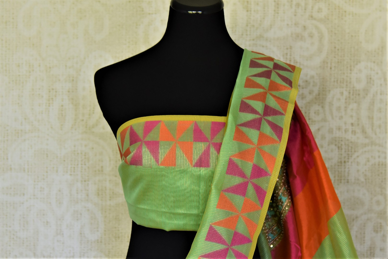 Stunning light green embroidered handloom saree for online shopping in USA with colorful border. Buy exquisite handloom sarees, pure silk sarees from Pure Elegance Indian clothing store in USA for festive occasions.-blouse pallu