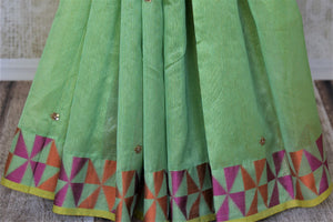 Stunning light green embroidered handloom saree for online shopping in USA with colorful border. Buy exquisite handloom sarees, pure silk sarees from Pure Elegance Indian clothing store in USA for festive occasions.-pleats