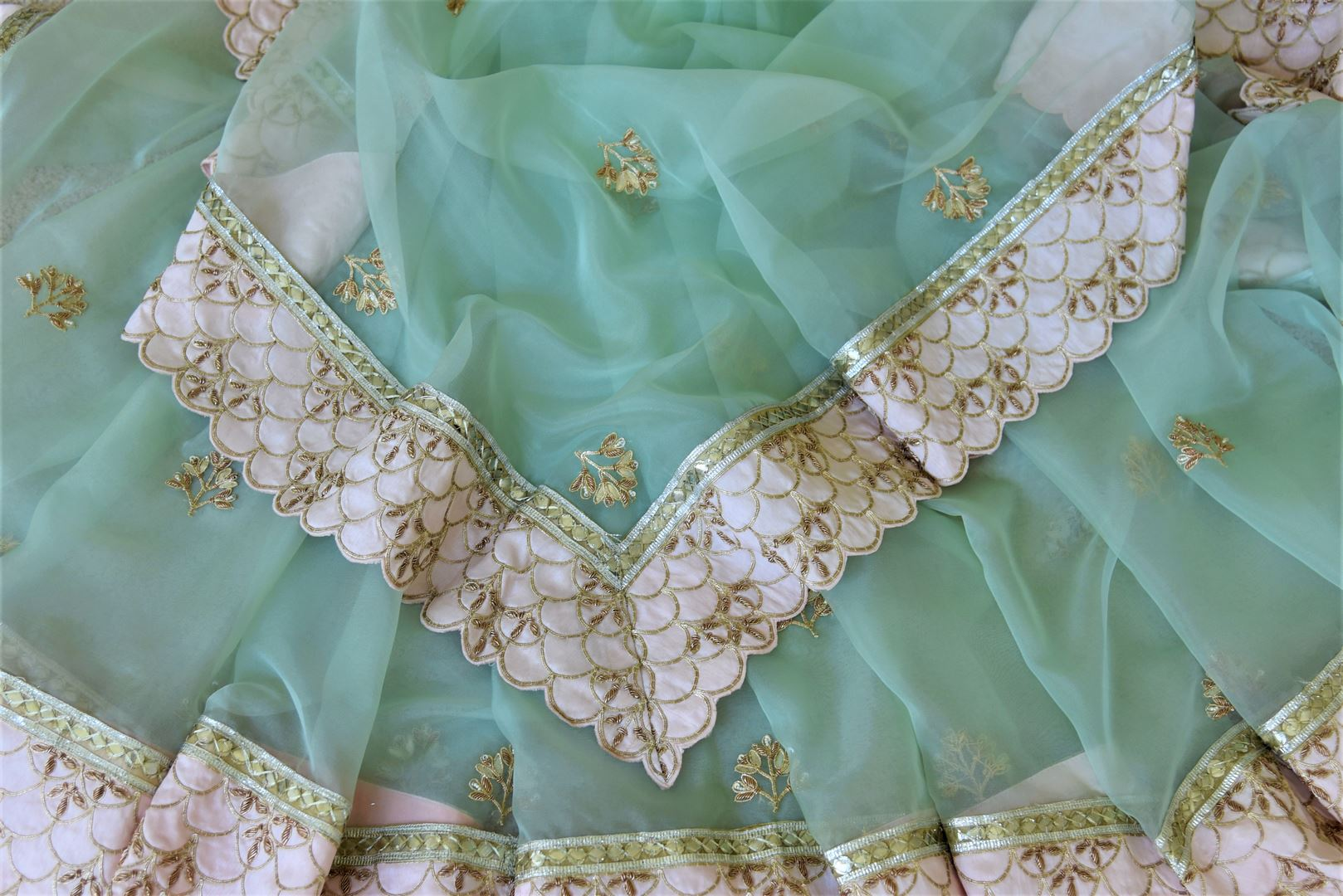 Shop mint green hand embroidered organza sari online in USA. Enhance your traditional saree style at weddings and festive occasions with designer sarees with blouse, pure silk sarees, handloom sarees  from Pure Elegance Indian clothing store in USA.-details