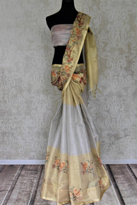 Stunning golden and grey embroidered handloom sari for online shopping in USA. Buy exquisite handloom saris with blouse from Pure Elegance Indian clothing store in USA for parties and festive occasions.-full view