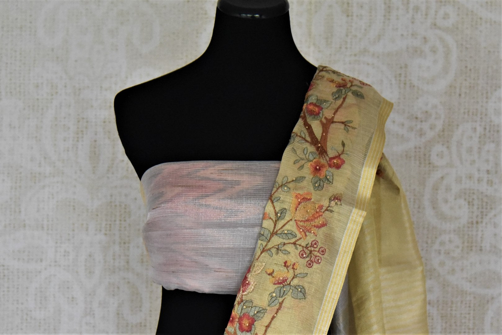 Stunning golden and grey embroidered handloom sari for online shopping in USA. Buy exquisite handloom saris with blouse from Pure Elegance Indian clothing store in USA for parties and festive occasions.-blouse pallu