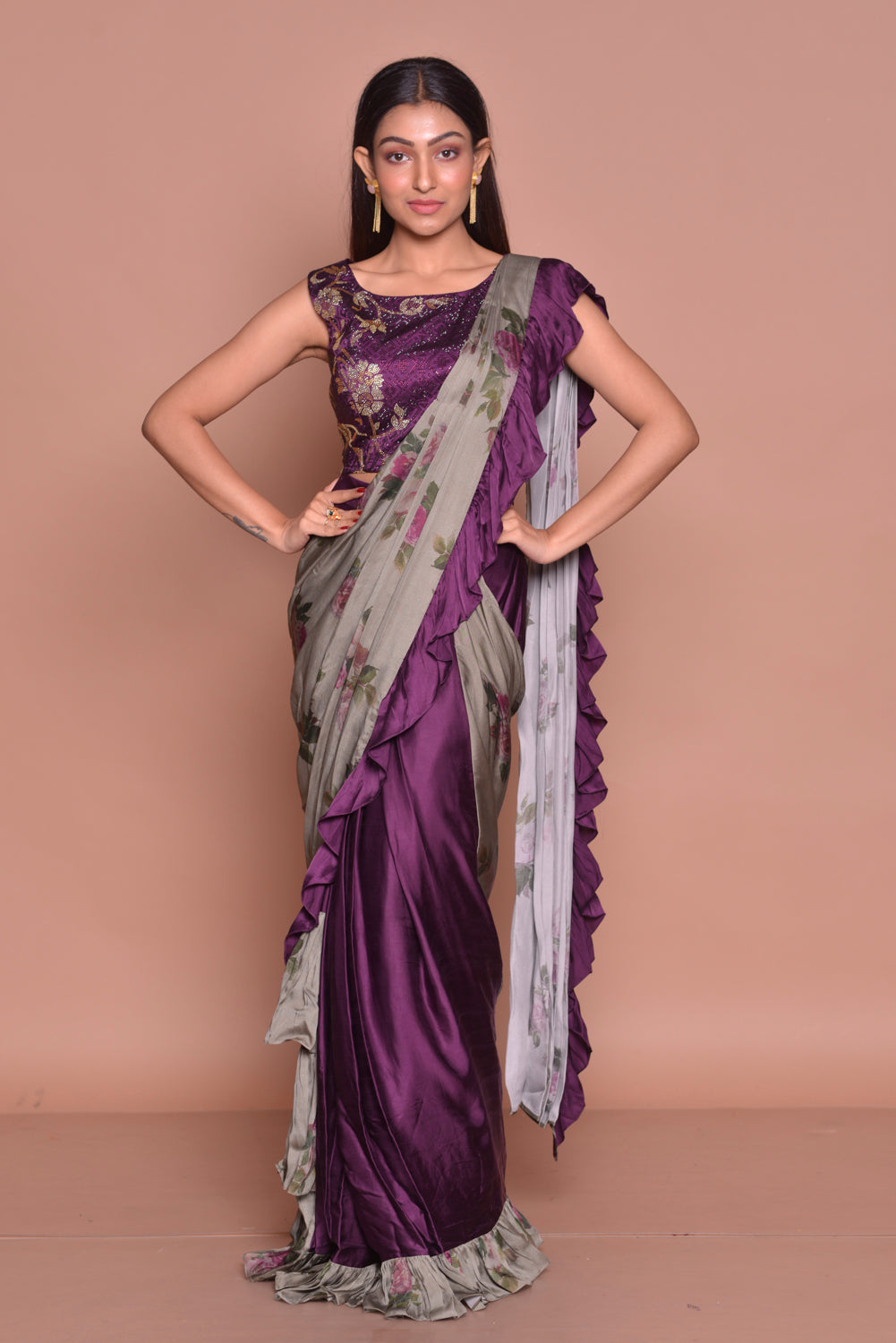 Shop contemporary purple and grey printed ruffle saree online in USA with blouse. Look fashionable on special occasions in contemporary sarees, designer sarees with blouse, embroidered saris from Pure Elegance Indian luxury clothing store in USA.-full view