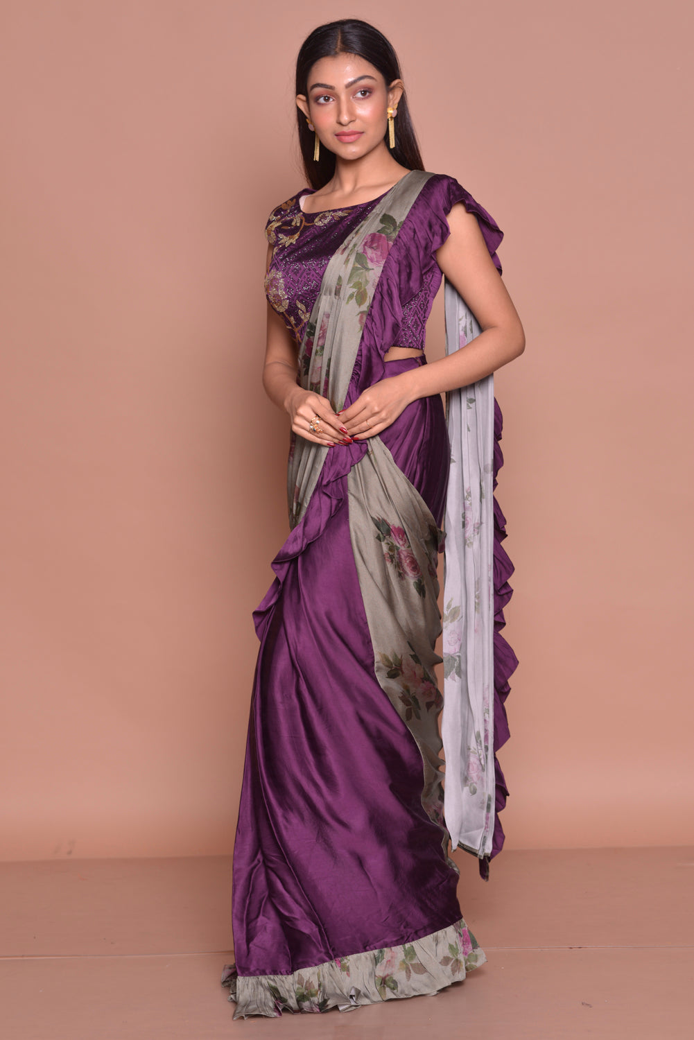 Shop contemporary purple and grey printed ruffle saree online in USA with blouse. Look fashionable on special occasions in contemporary sarees, designer sarees with blouse, embroidered saris from Pure Elegance Indian luxury clothing store in USA.-side