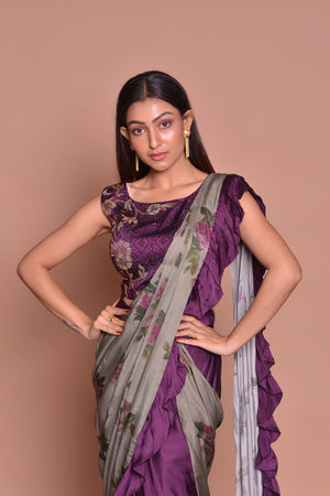Shop contemporary purple and grey printed ruffle saree online in USA with blouse. Look fashionable on special occasions in contemporary sarees, designer sarees with blouse, embroidered saris from Pure Elegance Indian luxury clothing store in USA.-closeup
