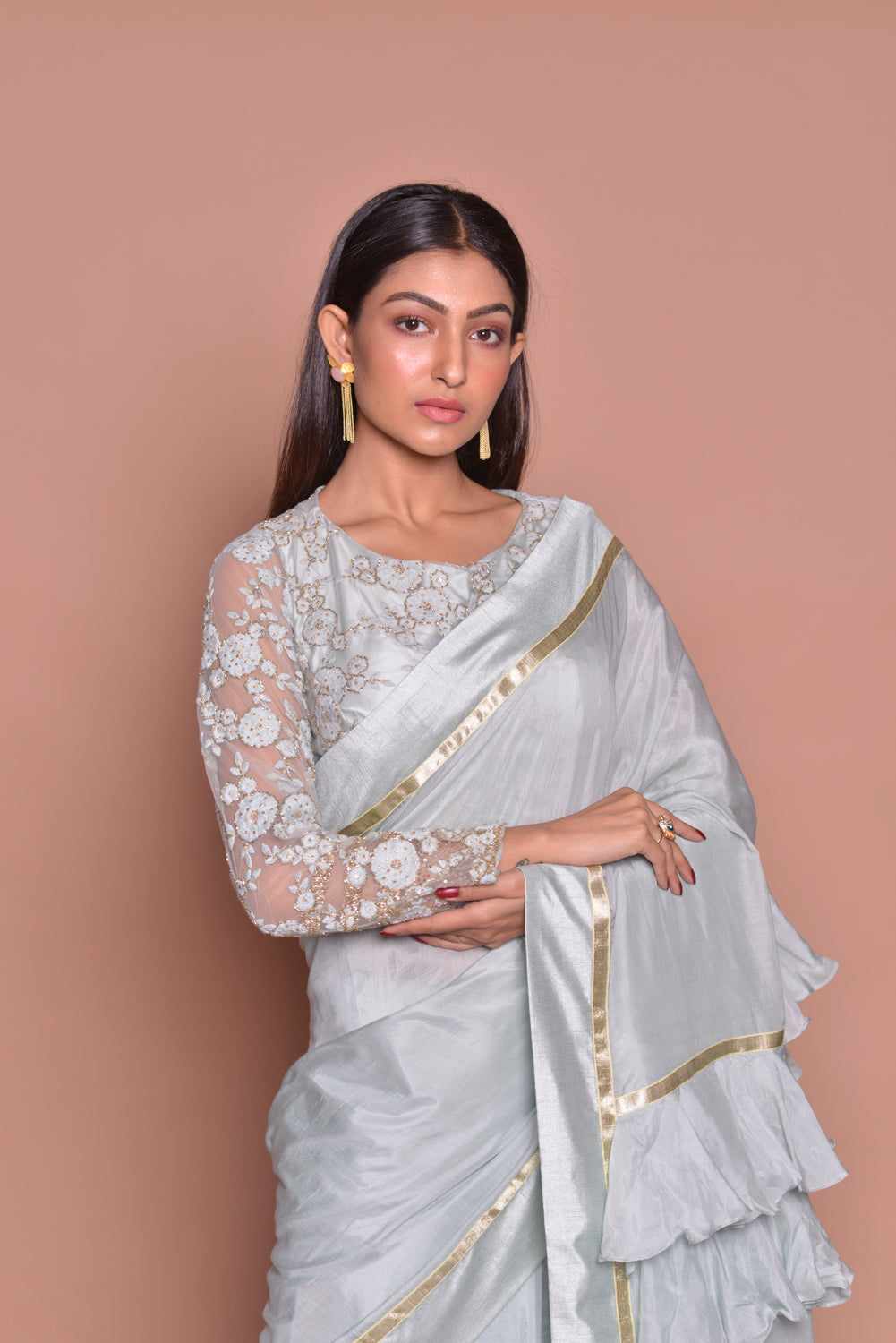 Buy light grey designer sari online in USA with frill pallu and lace saree blouse. Be occasion ready with exquisite range of designer sarees with blouse, bridal sarees from Pure Elegance Indian boutique in USA.-closeup