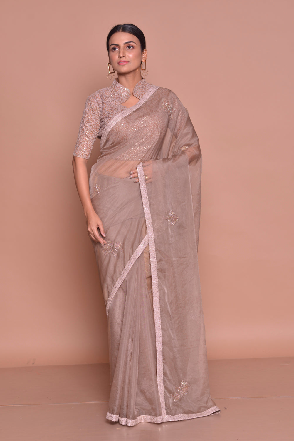 Buy stunning brown embroidered saree online in USA with embroidered saree blouse. Be occasion ready with exquisite range of designer sarees with blouse, bridal sarees from Pure Elegance Indian boutique in USA.-full view