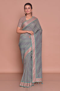 Shop brown sari online in USA with green stripes and saree blouse. Be occasion ready with exquisite range of designer sarees with blouse, bridal sarees from Pure Elegance Indian boutique in USA.-full view