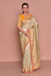 Buy beautiful golden zari border saree online in USA with embroidery and yellow embroidered saree blouse. Be occasion ready with exquisite range of designer sarees with blouse, bridal sarees from Pure Elegance Indian boutique in USA.-full view