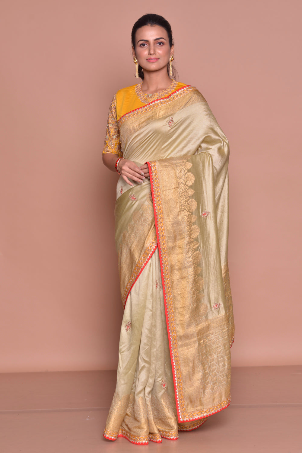 Buy beautiful golden zari border saree online in USA with embroidery and yellow embroidered saree blouse. Be occasion ready with exquisite range of designer sarees with blouse, bridal sarees from Pure Elegance Indian boutique in USA.-front