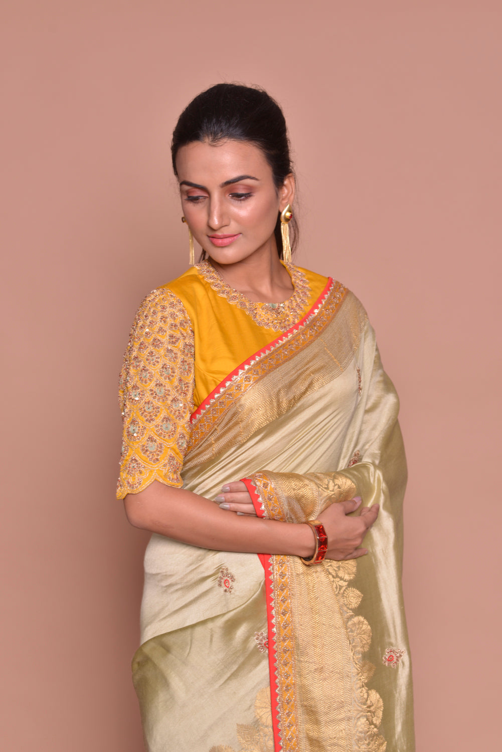 Buy beautiful golden zari border saree online in USA with embroidery and yellow embroidered saree blouse. Be occasion ready with exquisite range of designer sarees with blouse, bridal sarees from Pure Elegance Indian boutique in USA.-closeup