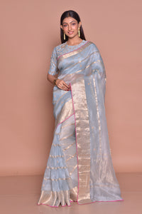 Buy stunning chambray blue saree online in USA with zari work and embroidered saree blouse. Be occasion ready with exquisite range of designer sarees with blouse, bridal sarees from Pure Elegance Indian boutique in USA.-full view