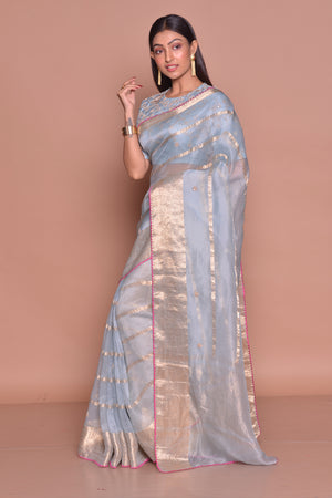 Buy stunning chambray blue saree online in USA with zari work and embroidered saree blouse. Be occasion ready with exquisite range of designer sarees with blouse, bridal sarees from Pure Elegance Indian boutique in USA.-side