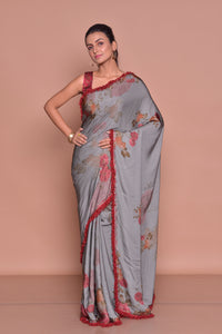 Shop stunning grey floral print saree online in USA with maroon embroidered saree blouse. Be occasion ready with exquisite range of designer sarees with blouse, bridal sarees from Pure Elegance Indian boutique in USA.-full view