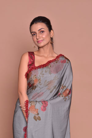 Shop stunning grey floral print saree online in USA with maroon embroidered saree blouse. Be occasion ready with exquisite range of designer sarees with blouse, bridal sarees from Pure Elegance Indian boutique in USA.-closeup