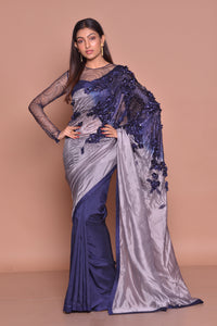 Buy glamorous grey and blue embroidered designer saree online in USA with sheer saree blouse. Be occasion ready with exquisite range of designer sarees with blouse, bridal sarees from Pure Elegance Indian boutique in USA.-full view