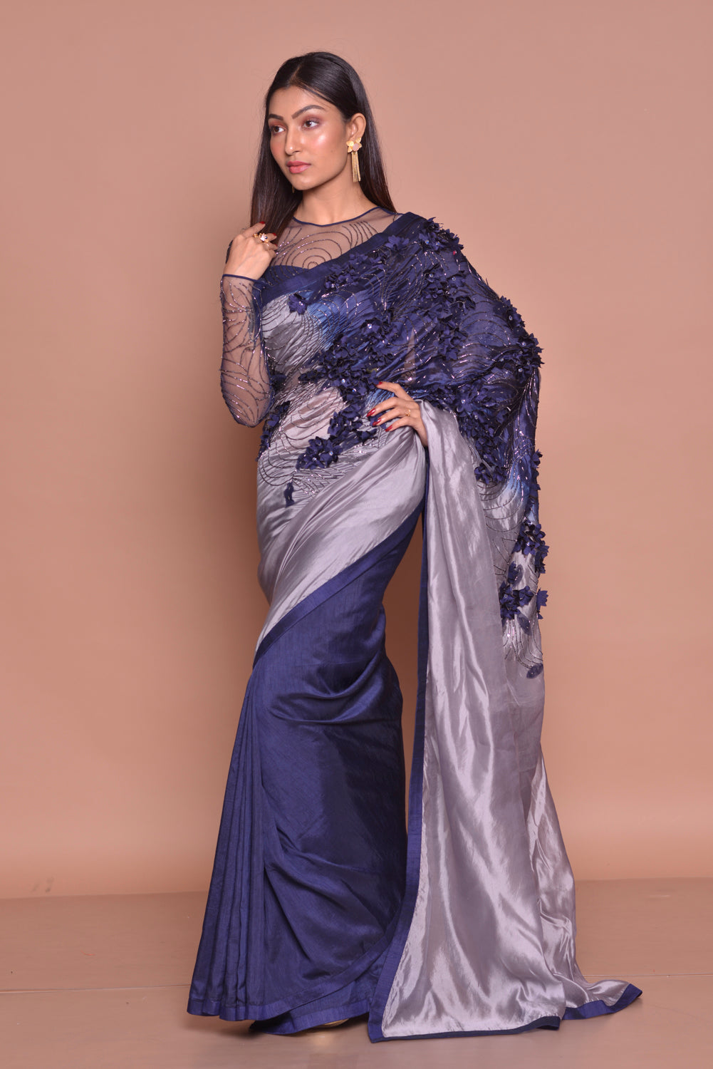 Buy glamorous grey and blue embroidered designer saree online in USA with sheer saree blouse. Be occasion ready with exquisite range of designer sarees with blouse, bridal sarees from Pure Elegance Indian boutique in USA.-side