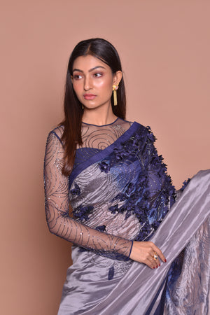 Buy glamorous grey and blue embroidered designer saree online in USA with sheer saree blouse. Be occasion ready with exquisite range of designer sarees with blouse, bridal sarees from Pure Elegance Indian boutique in USA.-closeup