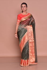 Buy splendid dark grey embroidered saree online in USA with red zari border and red embroidered saree blouse. Be occasion ready with exquisite range of designer sarees with blouse, bridal sarees from Pure Elegance Indian boutique in USA.-full view