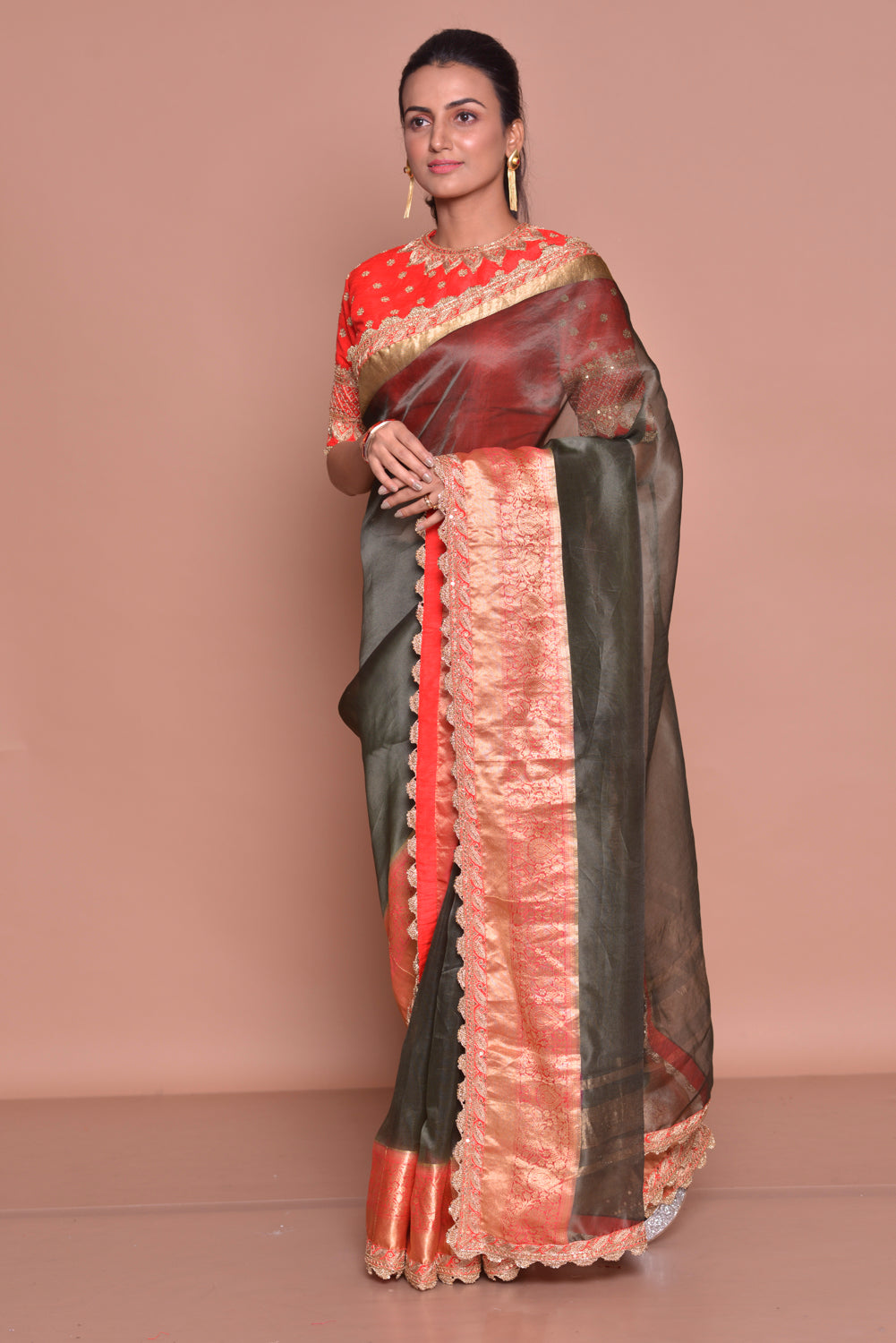 Buy splendid dark grey embroidered saree online in USA with red zari border and red embroidered saree blouse. Be occasion ready with exquisite range of designer sarees with blouse, bridal sarees from Pure Elegance Indian boutique in USA.-side