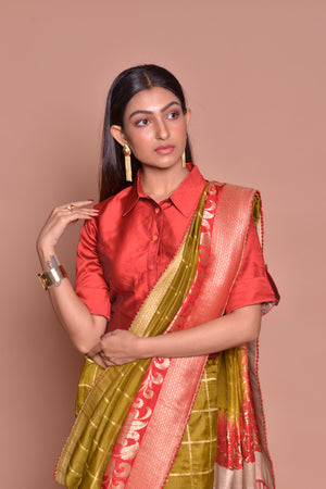 Buy stunning green zari check saree online in USA with red zari border and shirt blouse. Be occasion ready with exquisite range of designer sarees with blouse, bridal sarees from Pure Elegance Indian boutique in USA.-closeup