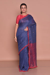 Shop navy blue saree online in USA with maroon frill lace and maroon blouse. Be occasion ready with exquisite range of designer sarees with blouse, bridal sarees from Pure Elegance Indian boutique in USA.-full view