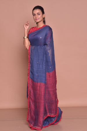 Shop navy blue saree online in USA with maroon frill lace and maroon blouse. Be occasion ready with exquisite range of designer sarees with blouse, bridal sarees from Pure Elegance Indian boutique in USA.-side