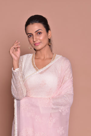 Buy beautiful powder pink embroidered saree online in USA with embroidered sari blouse. Be occasion ready with exquisite range of designer sarees with blouse, bridal sarees from Pure Elegance Indian boutique in USA.-closeup