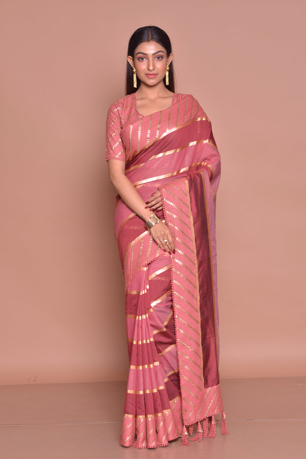 Shop beautiful pink and red embroidered saree online in USA with matching embroidered sari blouse. Be occasion ready with exquisite range of designer sarees with blouse, bridal sarees from Pure Elegance Indian boutique in USA.-full view