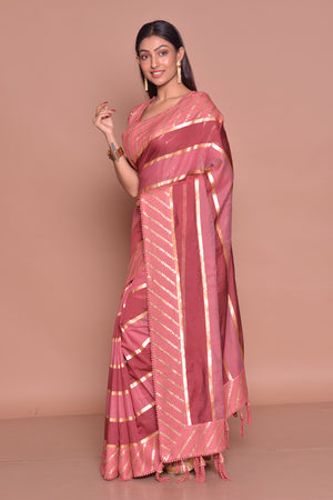 Shop beautiful pink and red embroidered saree online in USA with matching embroidered sari blouse. Be occasion ready with exquisite range of designer sarees with blouse, bridal sarees from Pure Elegance Indian boutique in USA.-side