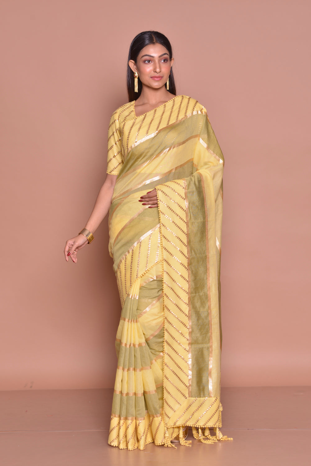 Buy stunning yellow and olive color embroidered sari online in USA with matching embroidered sari blouse. Be occasion ready with exquisite range of designer sarees with blouse, bridal sarees from Pure Elegance Indian boutique in USA.-full view