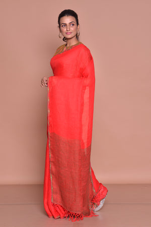 Buy solid red saree online in USA with brown embroidered saree blouse. Be occasion ready with exquisite range of designer sarees with blouse, bridal sarees from Pure Elegance Indian boutique in USA.-side