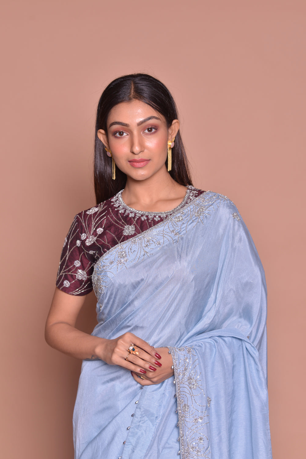 Shop stunning light blue embroidered tussar georgette saree online in USA with maroon embroidered saree blouse. Look fashionable on special occasions in contemporary sarees, designer sarees with blouse, embroidered saris from Pure Elegance Indian luxury clothing store in USA.-closeup