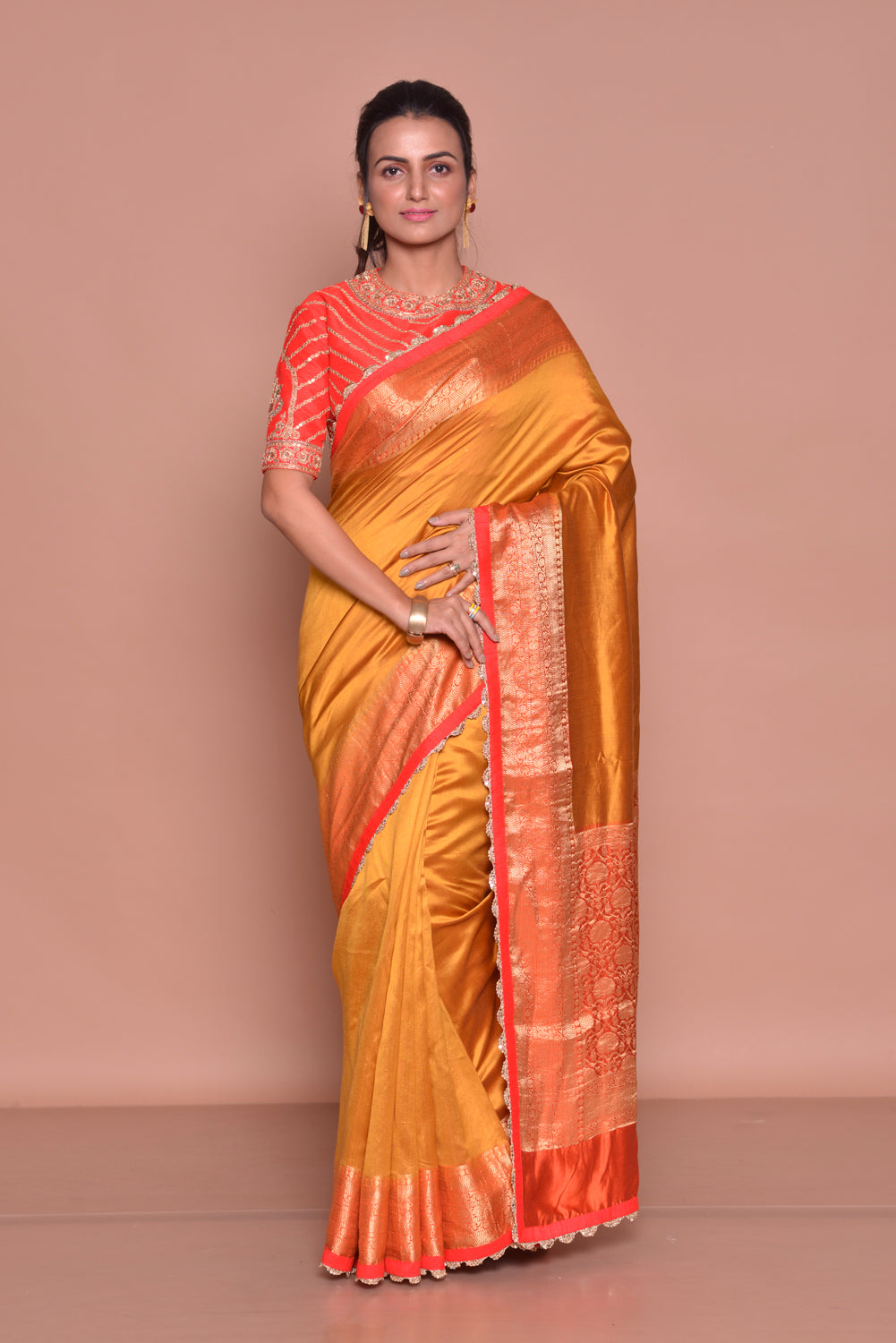 Buy beautiful mustard zari border saree online in USA with red embroidered saree blouse. Be occasion ready with exquisite range of designer sarees with blouse, bridal sarees from Pure Elegance Indian boutique in USA.-full view